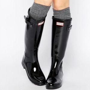Hunter Tall Gloss Black Rain Boots Size 7